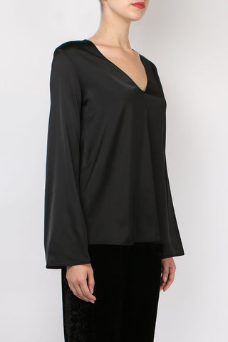 Satin V Neck Top