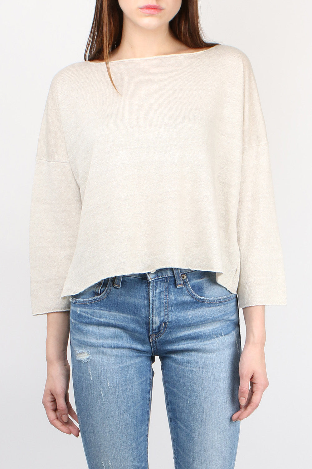 Evam Eva Linen Pullover in Antique White