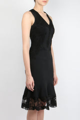 Jonathan Simkhai Lace Applique Crepe Dress
