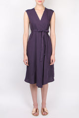 apuntob Linen Dress with Cross Tie