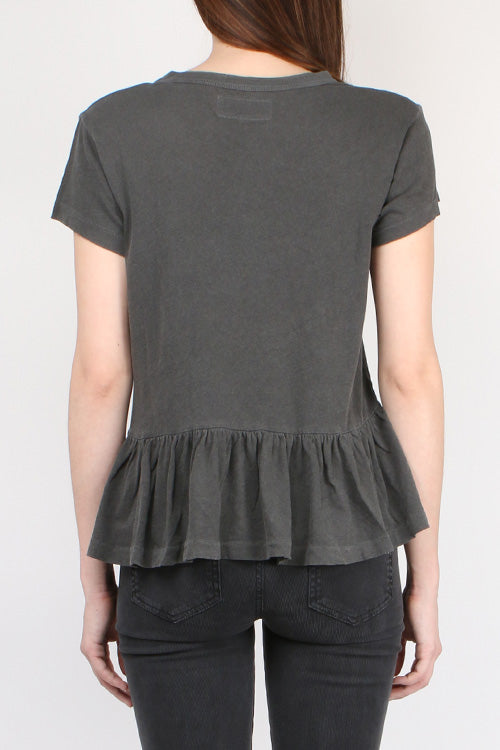 The Great The Ruffle Tee in Washed Black