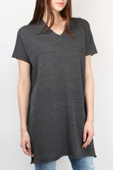 Evam Eva Dry Cotton V Neck Tunic in Charcoal