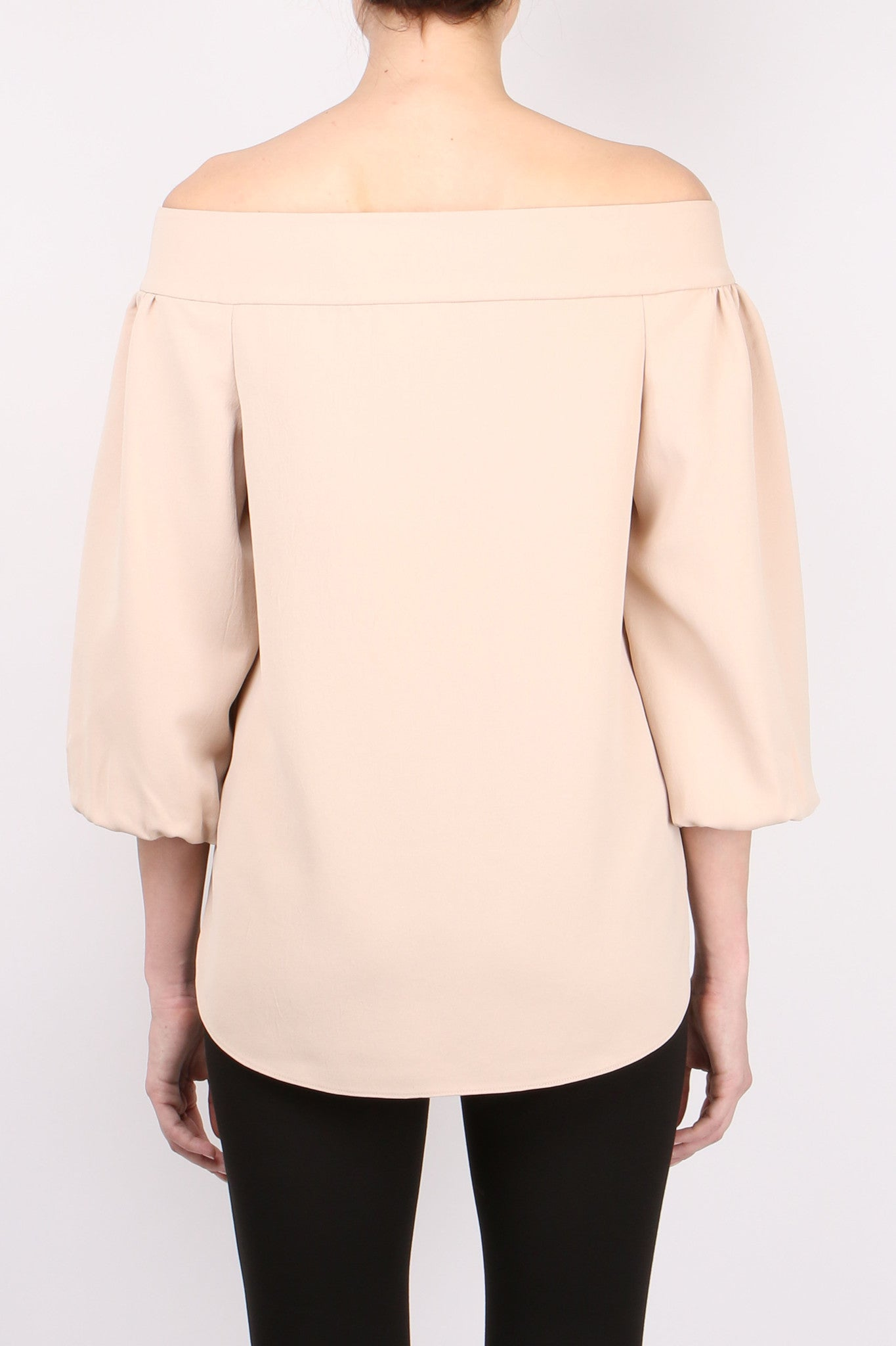 Tibi Twill Off Shoulder Top Sand Blush