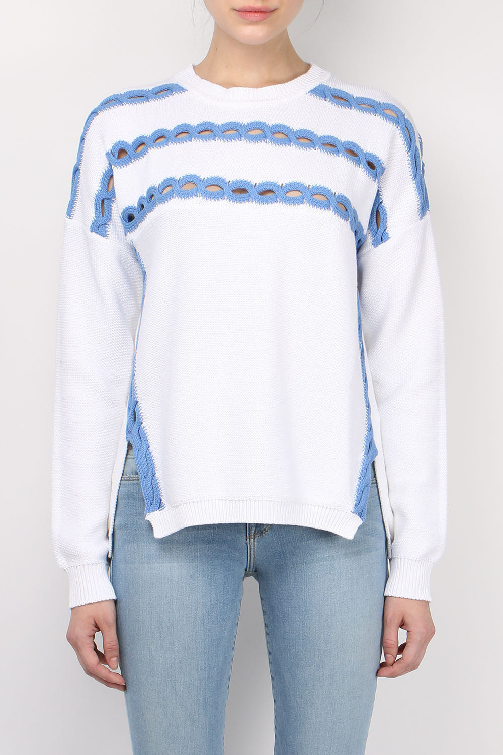 Jonathan Simkhai Open Cable Crewneck Sweater