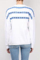 Open Cable Crewneck Side Slit Top