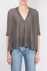 Linen Swing V Neck Top
