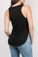 Majestic Filatures Linen Camisole with Silk Yoke in Noir