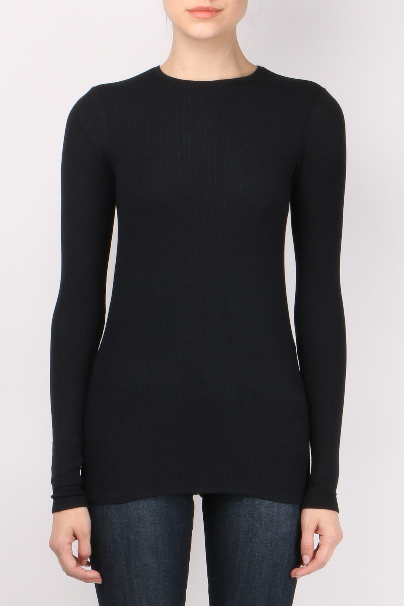 ATM Long Sleeve Rib Crew Black