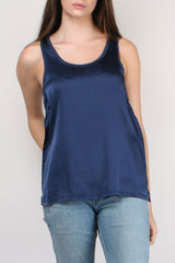 Majestic Filatures Linen Camisole with Silk Yoke in Marine