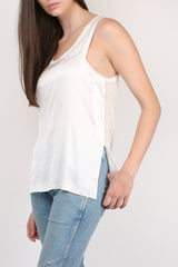 Majestic Filatures Linen Camisole with Silk Yoke in Milk