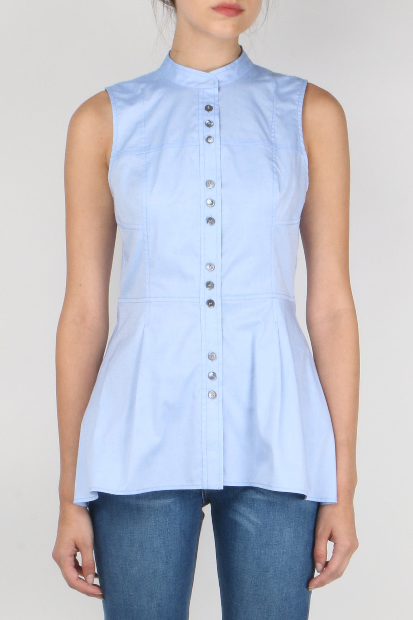 S/L 3-Button Shirt W/ Peplum