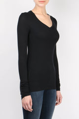 ATM Long Sleeve V Neck Rib Shirt Black