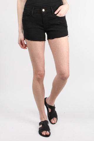 Frame Denim Le Cutoff Tulip Hem in Raw Noir