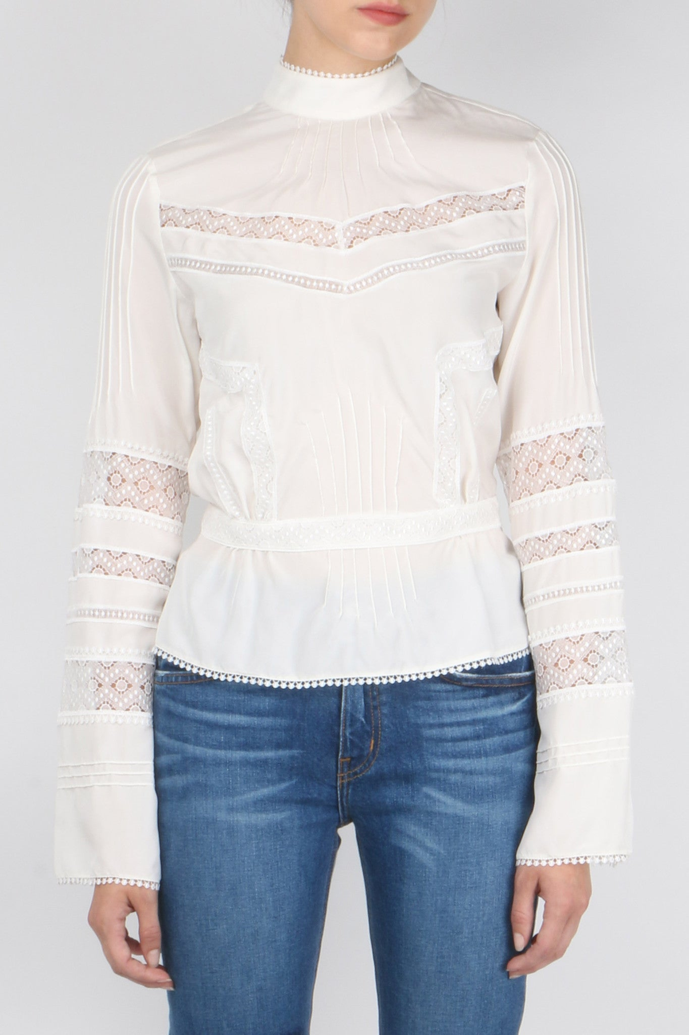 L/S High Collar Blouse