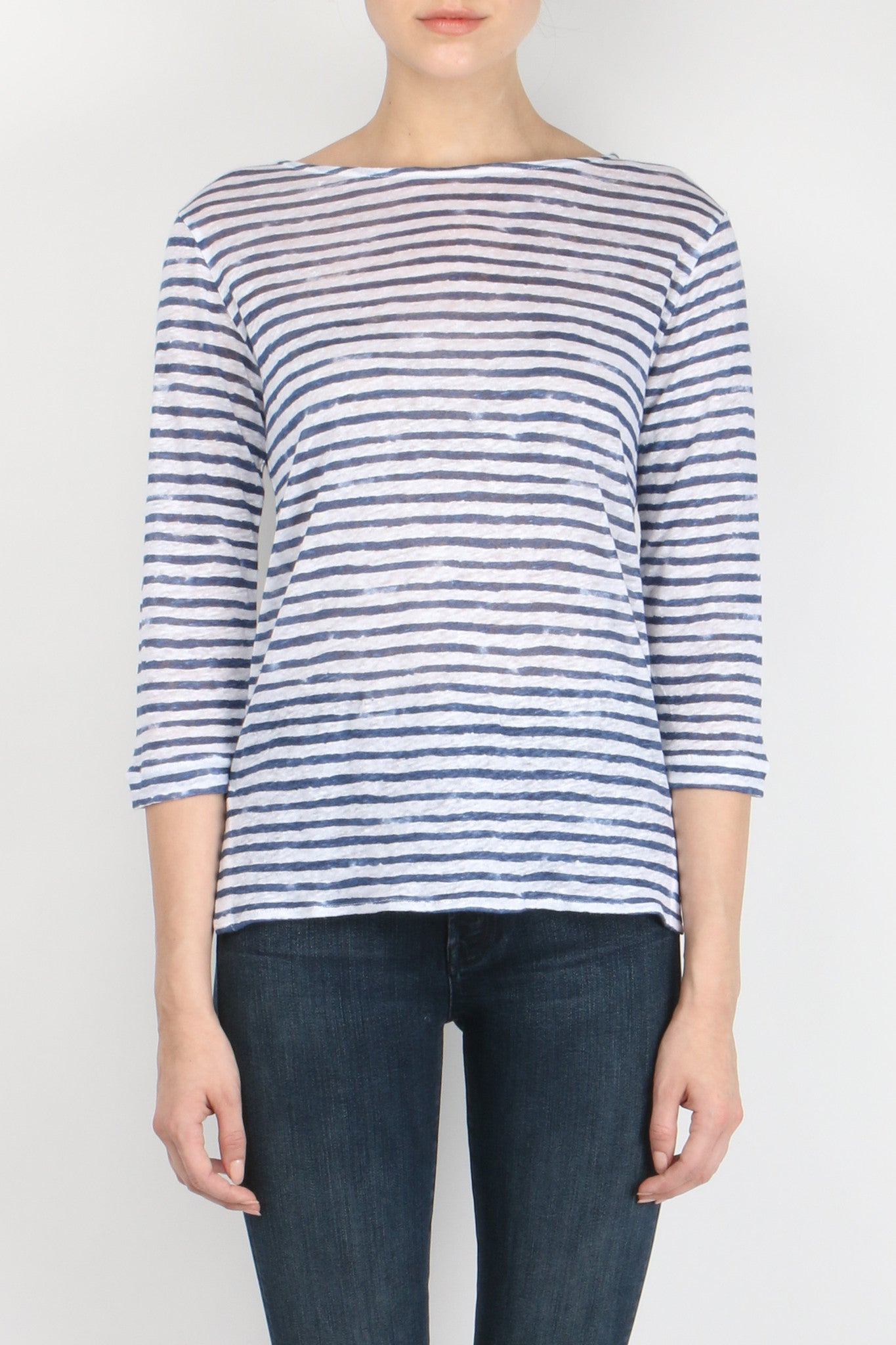 Majestic Filatures Linen Striped Boatneck