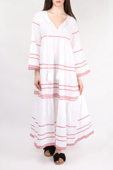 Gallabia Pina Colada Red Stripes Dress