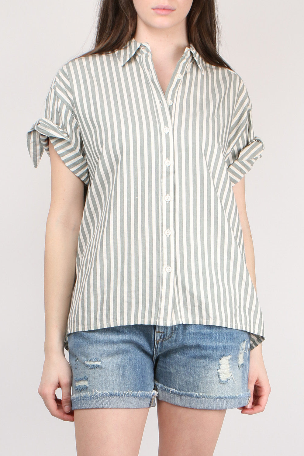 The Great The Tie Sleeve Big Shirt in Green Stripe