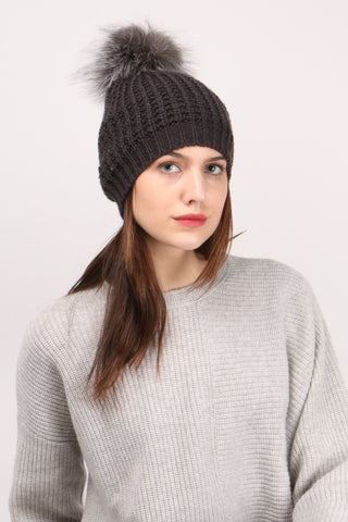 Knit Hat W/ Silver Fox