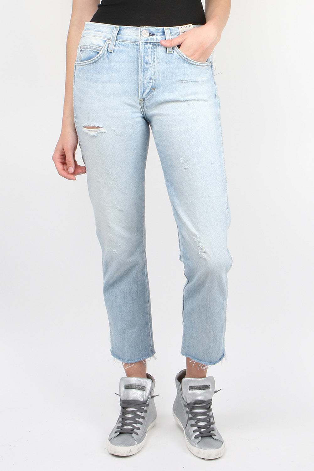 AMO Tomboy Crop Jean in Moonwalk