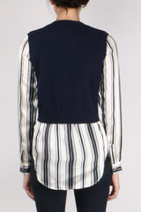 Veronica Beard Mellow Mixed Media Sweater Navy