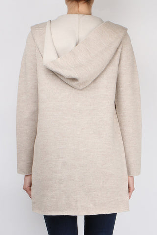 Wool Knit Hooded Cardigan