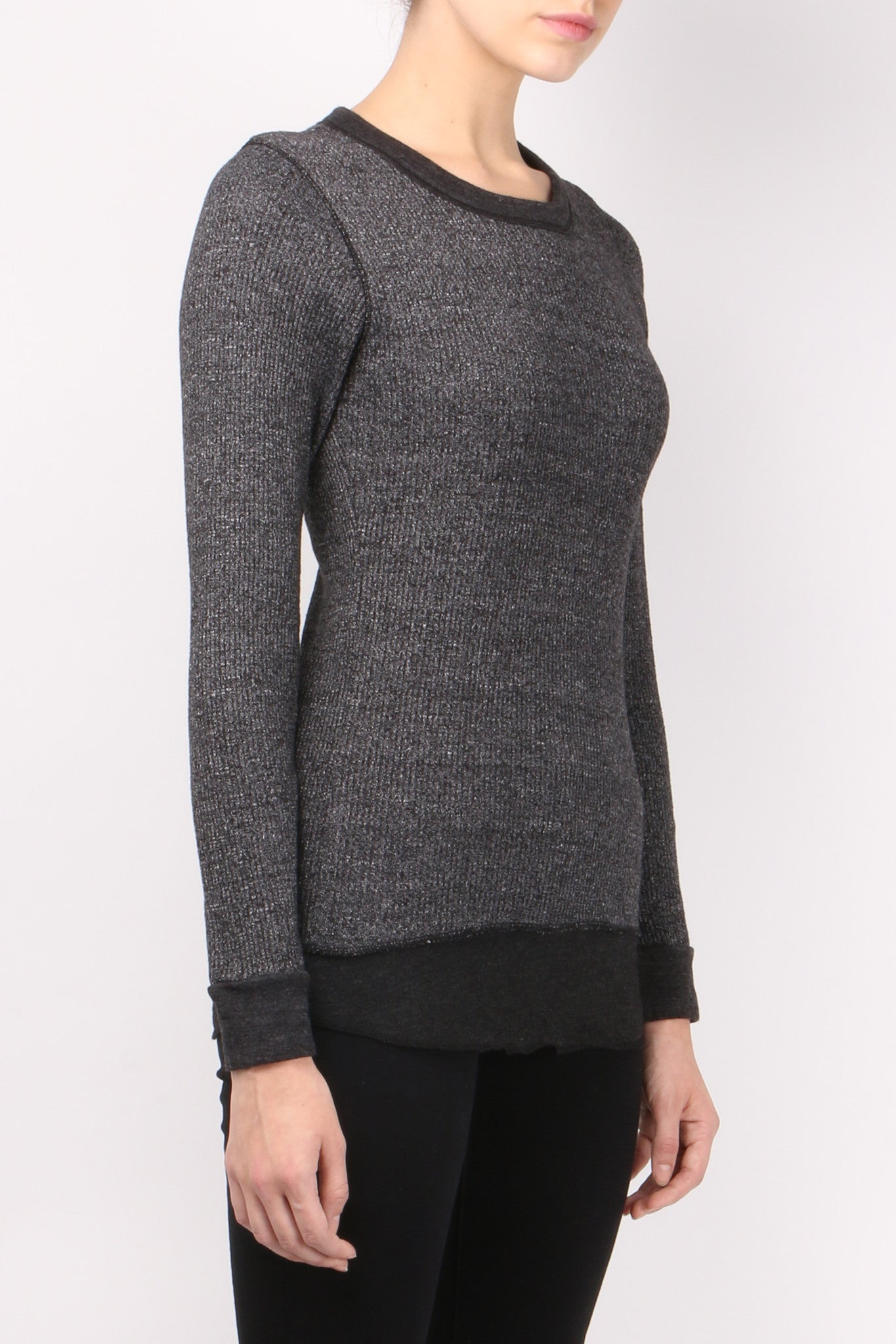 Monrow Waffle Double Layer Thermal Black