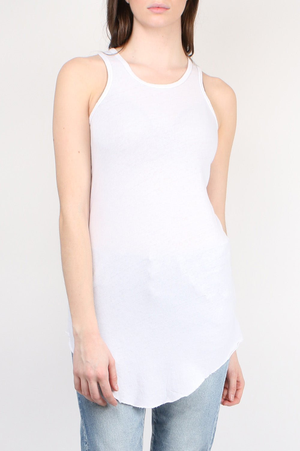 Tee Lab by Frank & Eileen Extra Long Layer Tank Dirty White