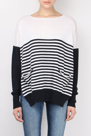Over Stripe Side Open Sweater