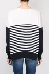 Ma'ry'ya Over Stripe Side Open Sweater