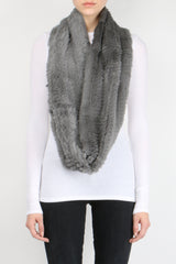 Jocelyn Sheared Rabbit Infinity Scarf Quiet Shade