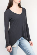 Load image into Gallery viewer, Tee Lab by Frank & Eileen Deep V Long Sleeve Tee in Carbon