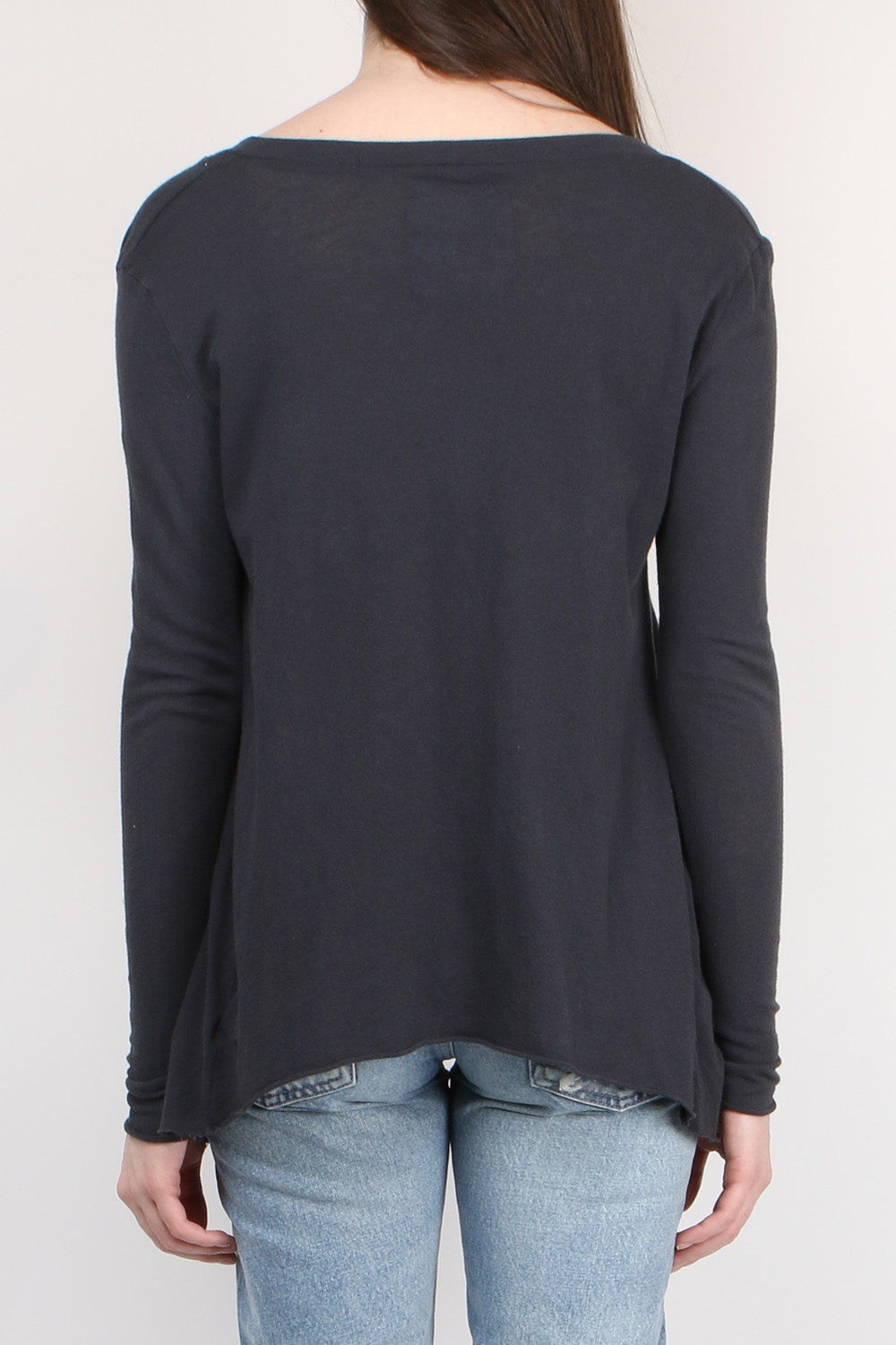 Tee Lab by Frank & Eileen Deep V Long Sleeve Tee in Carbon