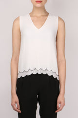 Jennie Kayne Silk Scallop Shell Tank