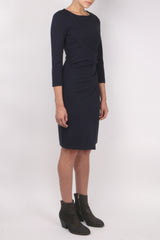 3/4 Sleeve Front Drape Dress