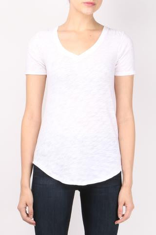 Short Sleeve V-Neck Tee in White