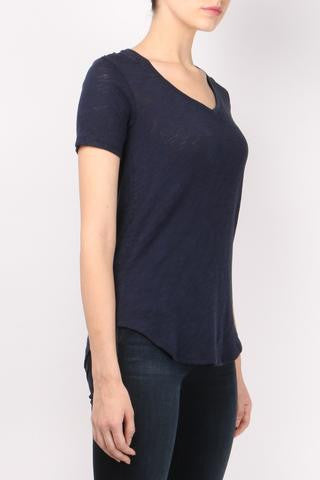 Short Sleeve V-Neck in Midnight