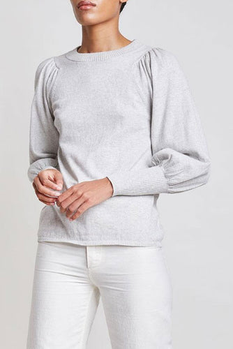 Dewi Puff Sleeve Grey Sweater