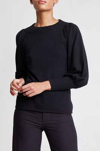 Dewi Puff Sleeve Black Sweater