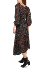 Bouganvillea Wrap Brush Print Dress
