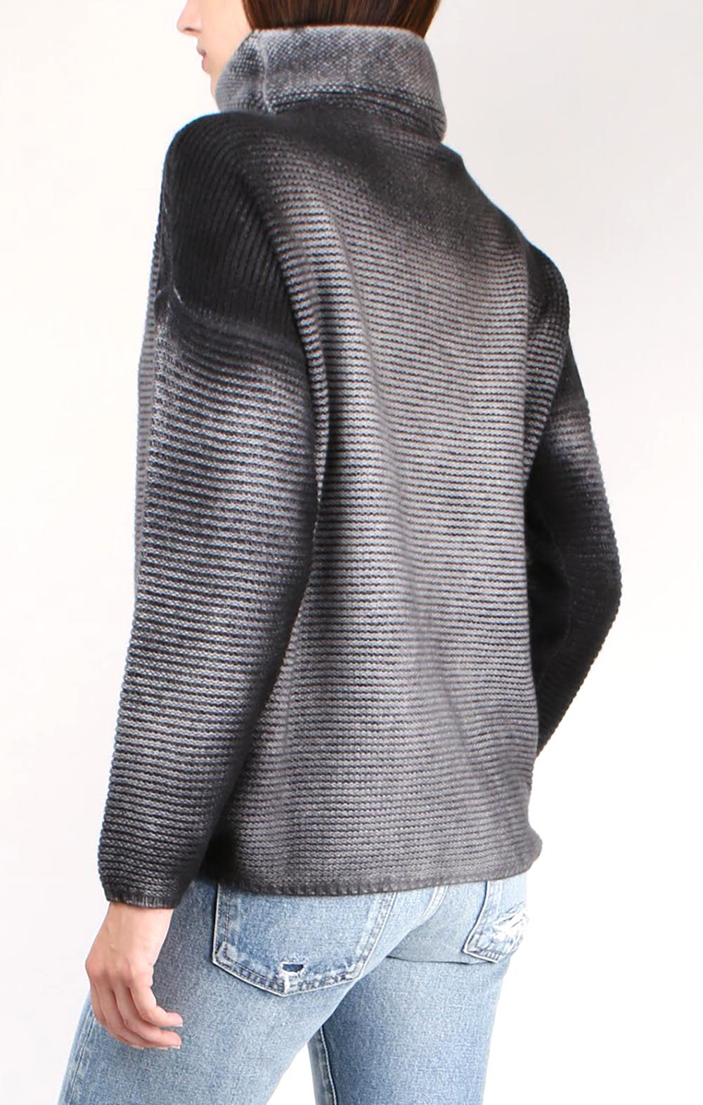 High Neck Row Stitch Pullover