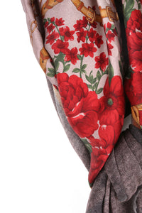 One Of A Kind Red Flower Scarf