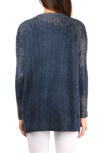 Metallic Cable Knit Crew