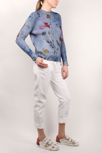 Destroyed Denim Floral Knit