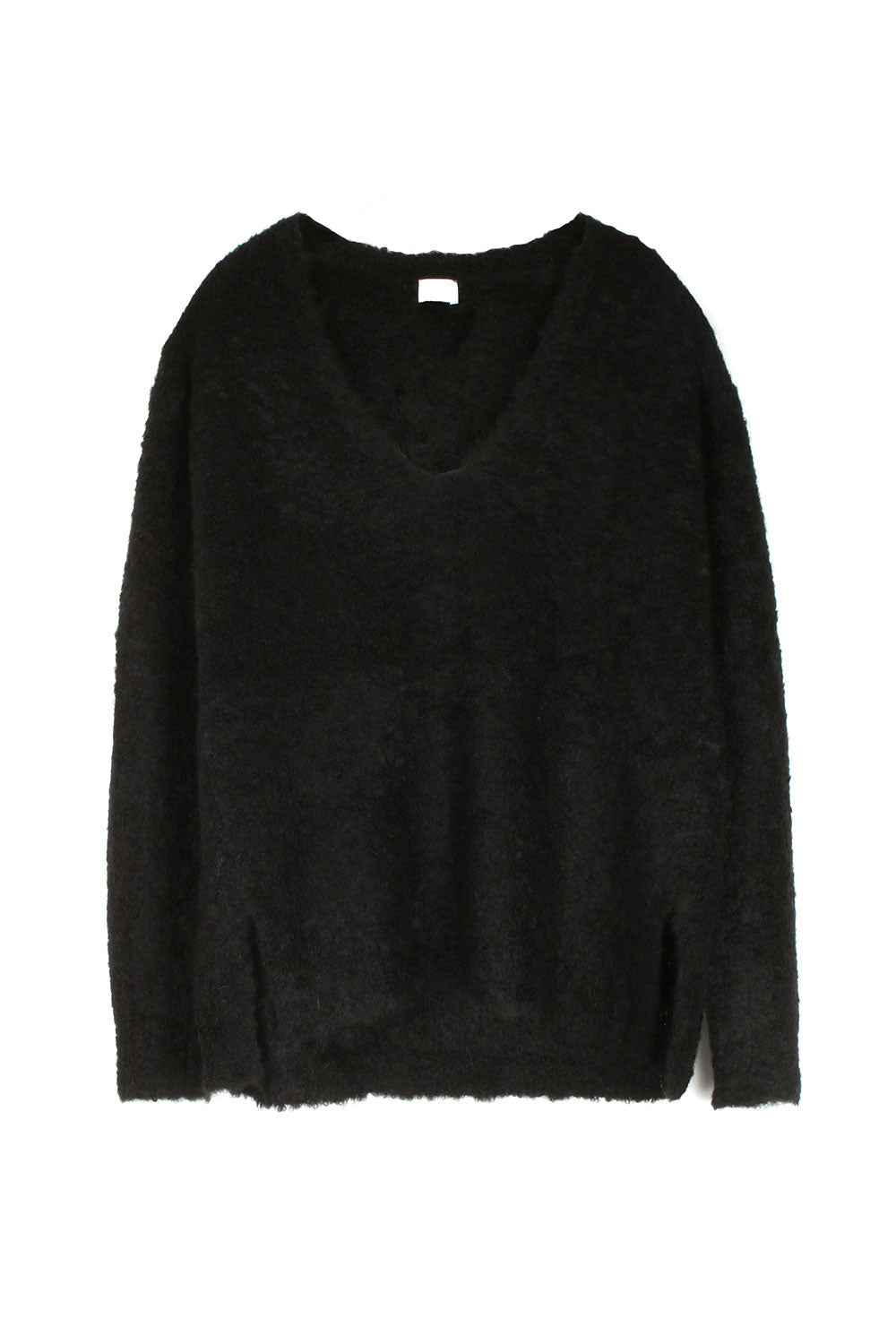 Black Alpaca V Neck
