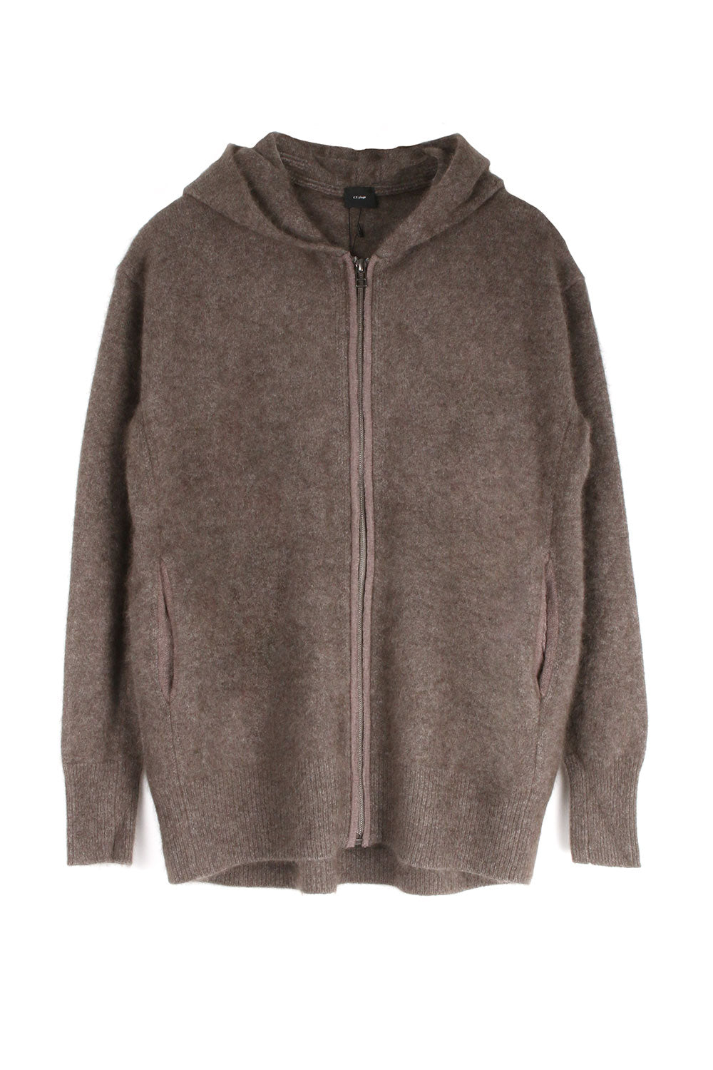 Brown Wool Zip Up