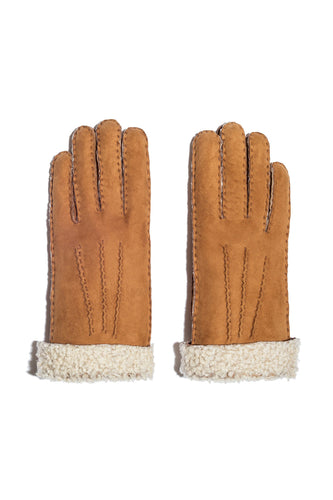 Curly Shearling Chestnut Gloves