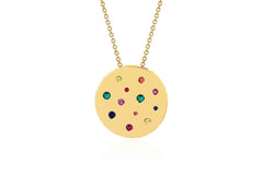 Rainbow Speckled Disc Necklace