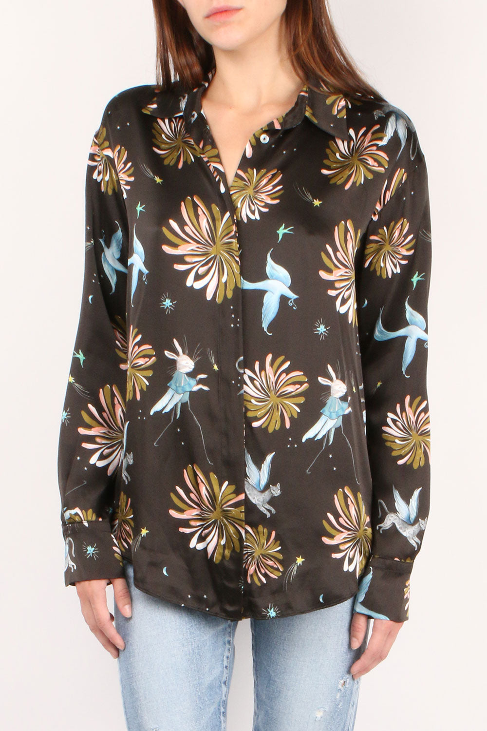 Printed Silk Oversized Shirt