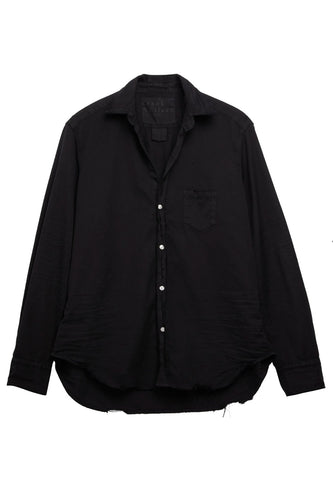 Eileen Distressed Black Button Down