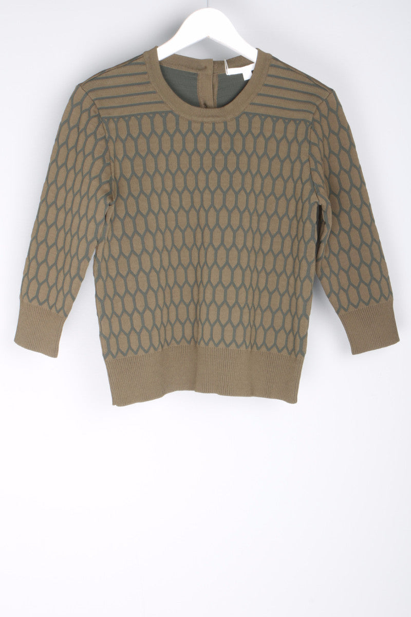 Quilted Button Crewneck Front